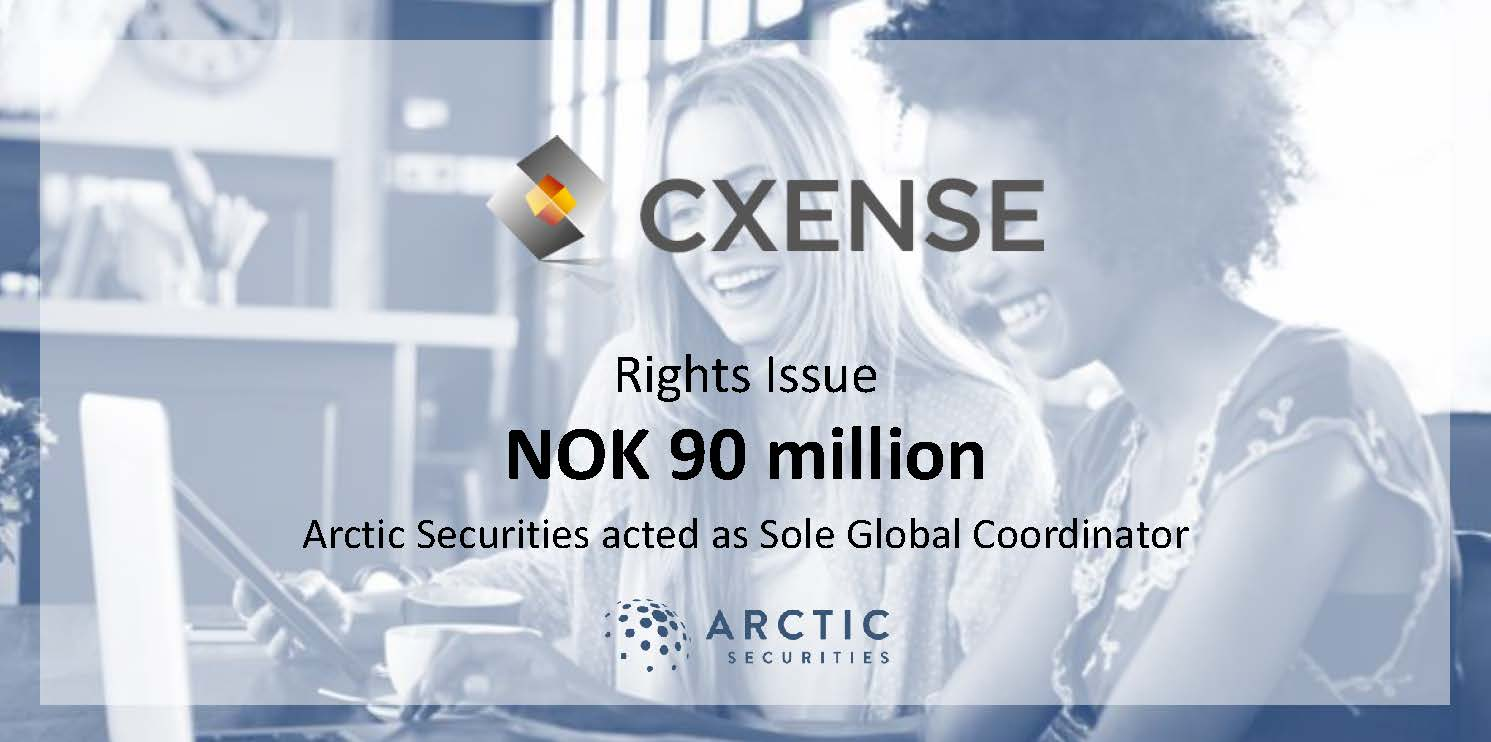 Cxense ASA - NOK 90 million - Rights Issue