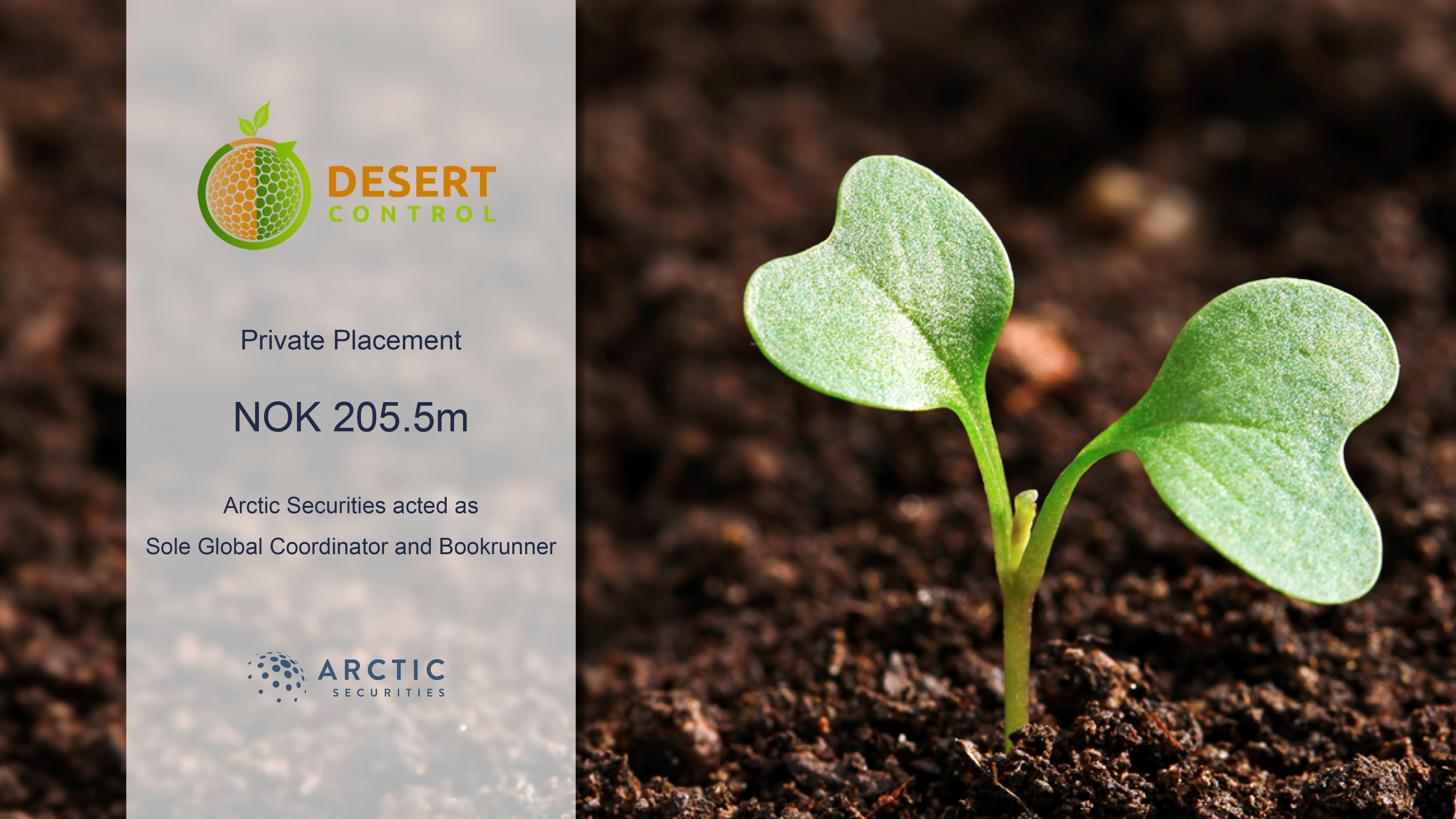 Private Placement of NOK 205.5m in Desert Control AS