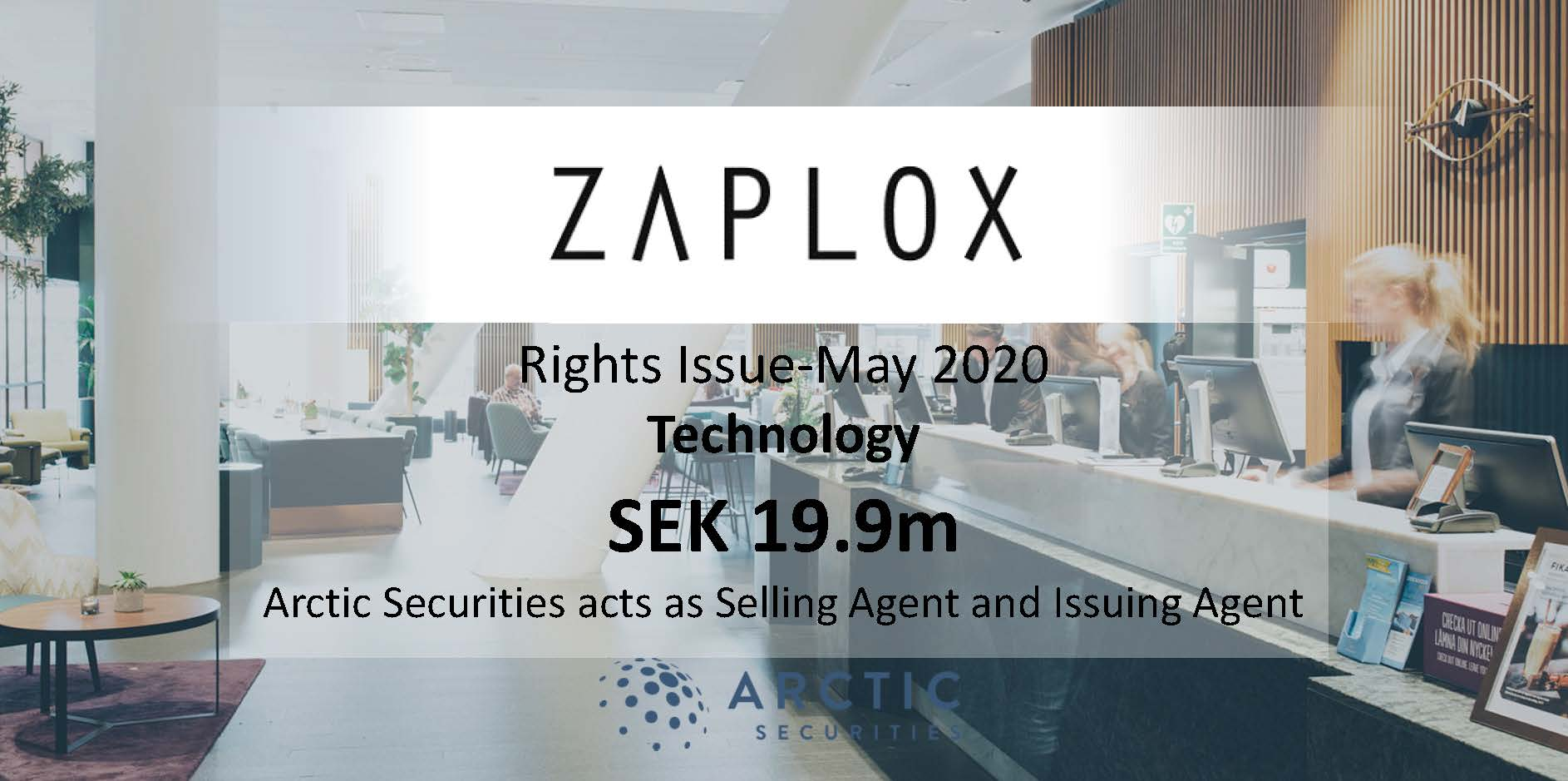Zaplox AB - SEK 19.9m - Rights Issue