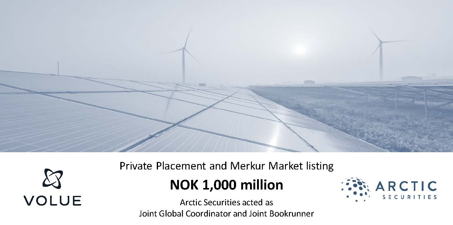 Volue AS - NOK 1,000 million - Private Placement and Merkur Market listing